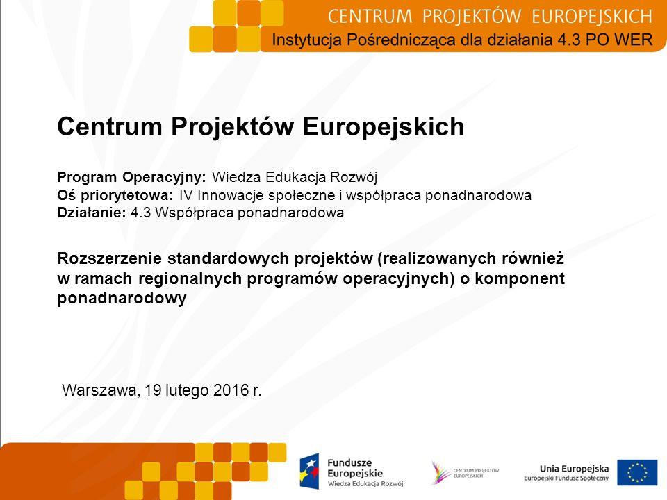 Centrum Projektów Europejskich Program Operacyjny: Wiedza Edukacja Rozwój Oś priorytetowa: IV Innowacje społeczne i współpraca ponadnarodowa Działanie