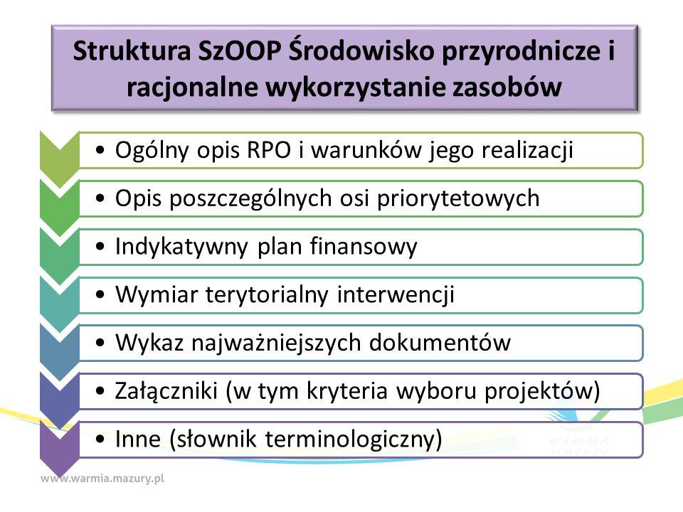 Struktura SzOOP Środowisko przyrodnicze i racjonalne wykorzystanie zasobów Ogólny opis RPO i warunków jego realizacjiOpis poszczególnych osi priorytetowychIndykatywny plan finansowyWymiar terytorialny interwencjiWykaz najważniejszych dokumentówZałączniki (w tym kryteria wyboru projektów)Inne (słownik terminologiczny)