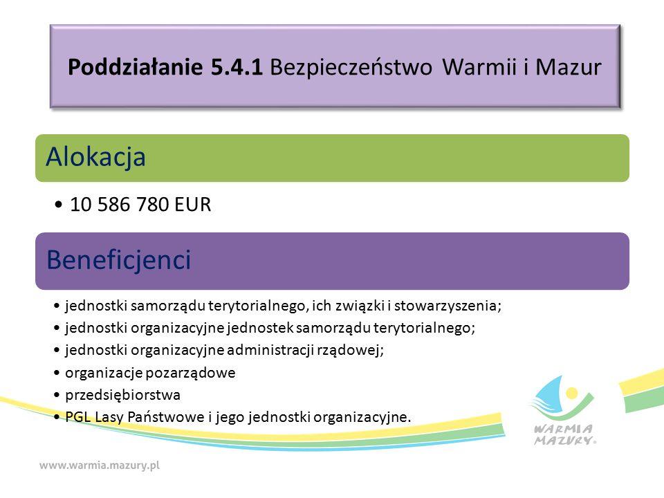 Poddziałanie 5.4.1 Bezpieczeństwo Warmii i Mazur Alokacja 10 586 780 EUR Beneficjenci jednostki samorządu terytorialnego, ich związki i stowarzyszenia; jednostki organizacyjne jednostek samorządu terytorialnego; jednostki organizacyjne administracji rządowej; organizacje pozarządowe przedsiębiorstwa PGL Lasy Państwowe i jego jednostki organizacyjne.