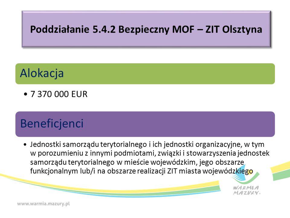 Poddziałanie 5.4.2 Bezpieczny MOF – ZIT Olsztyna Alokacja 7 370 000 EUR Beneficjenci Jednostki samorządu terytorialnego i ich jednostki organizacyjne, w tym w porozumieniu z innymi podmiotami, związki i stowarzyszenia jednostek samorządu terytorialnego w mieście wojewódzkim, jego obszarze funkcjonalnym lub/i na obszarze realizacji ZIT miasta wojewódzkiego