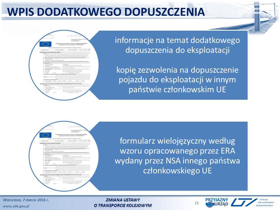 www.utk.gov.pl WPIS DODATKOWEGO DOPUSZCZENIA Warszawa, 7 marca 2016 r.