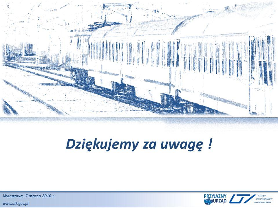 www.utk.gov.pl Warszawa, 2015.07.23 Dziękujemy za uwagę ! Warszawa, 7 marca 2016 r.