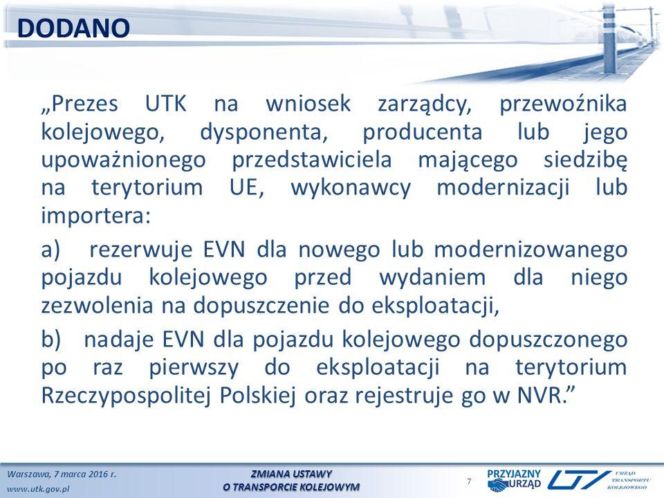 www.utk.gov.pl DODANO Warszawa, 7 marca 2016 r.