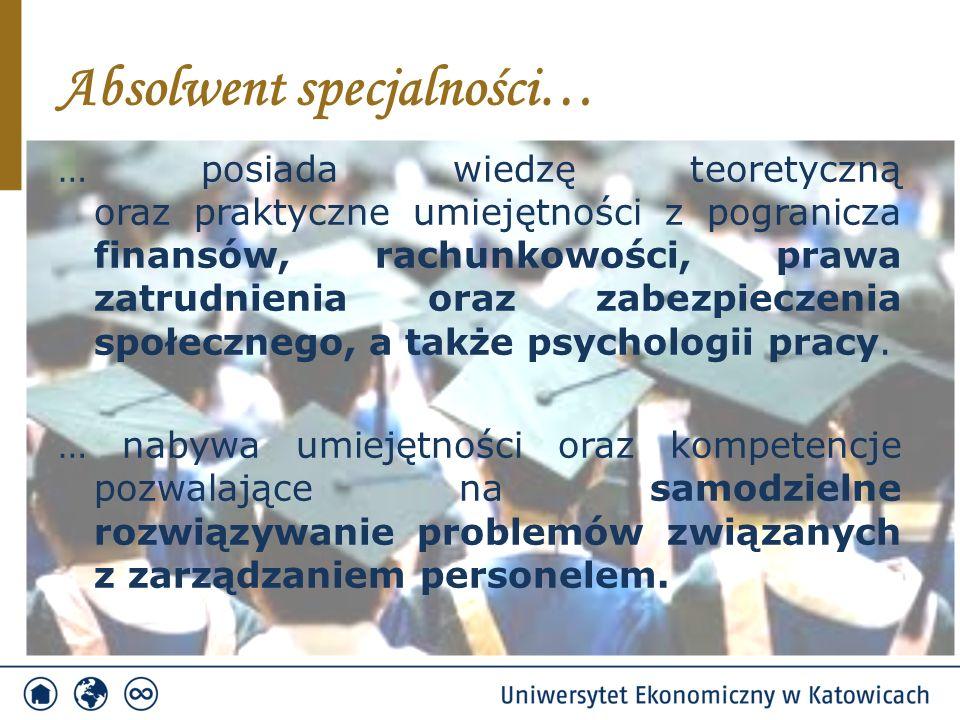 Absolwent specjalności… … posiada wiedzę teoretyczną oraz praktyczne umiejętności z pogranicza finansów, rachunkowości, prawa zatrudnienia oraz zabezpieczenia społecznego, a także psychologii pracy.
