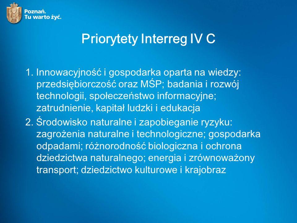 Priorytety Interreg IV C 1.