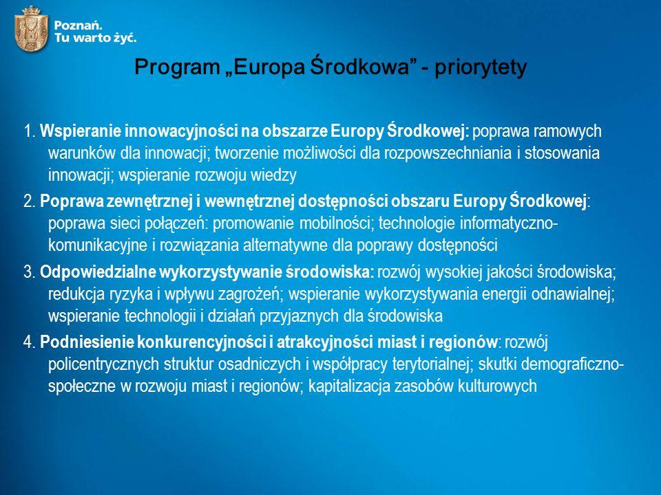 """Program """"Europa Środkowa - priorytety 1."""