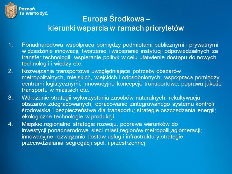 Europa Środkowa – kierunki wsparcia w ramach priorytetów 1.Ponadnarodowa współpraca pomiędzy podmiotami publicznymi i prywatnymi w dziedzinie innowacji, tworzenie i wspieranie instytucji odpowiedzialnych za transfer technologii; wspieranie polityk w celu ułatwienie dostępu do nowych technologii i wiedzy etc.