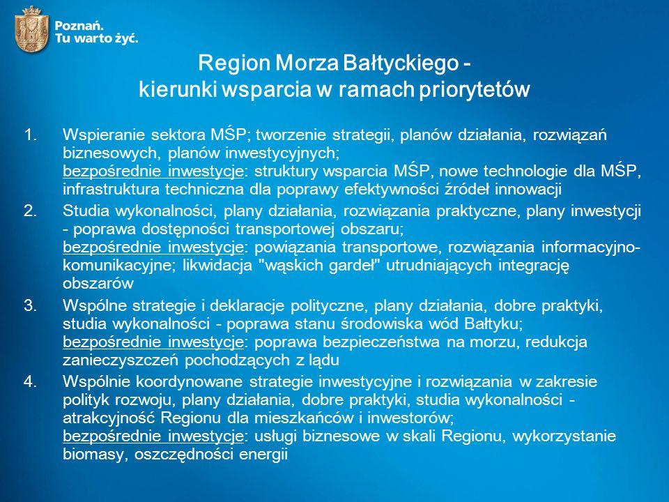 Region Morza Bałtyckiego - kierunki wsparcia w ramach priorytetów 1.Wspieranie sektora MŚP; tworzenie strategii, planów działania, rozwiązań biznesowych, planów inwestycyjnych; bezpośrednie inwestycje: struktury wsparcia MŚP, nowe technologie dla MŚP, infrastruktura techniczna dla poprawy efektywności źródeł innowacji 2.Studia wykonalności, plany działania, rozwiązania praktyczne, plany inwestycji - poprawa dostępności transportowej obszaru; bezpośrednie inwestycje: powiązania transportowe, rozwiązania informacyjno- komunikacyjne; likwidacja wąskich gardeł utrudniających integrację obszarów 3.Wspólne strategie i deklaracje polityczne, plany działania, dobre praktyki, studia wykonalności - poprawa stanu środowiska wód Bałtyku; bezpośrednie inwestycje: poprawa bezpieczeństwa na morzu, redukcja zanieczyszczeń pochodzących z lądu 4.Wspólnie koordynowane strategie inwestycyjne i rozwiązania w zakresie polityk rozwoju, plany działania, dobre praktyki, studia wykonalności - atrakcyjność Regionu dla mieszkańców i inwestorów; bezpośrednie inwestycje: usługi biznesowe w skali Regionu, wykorzystanie biomasy, oszczędności energii