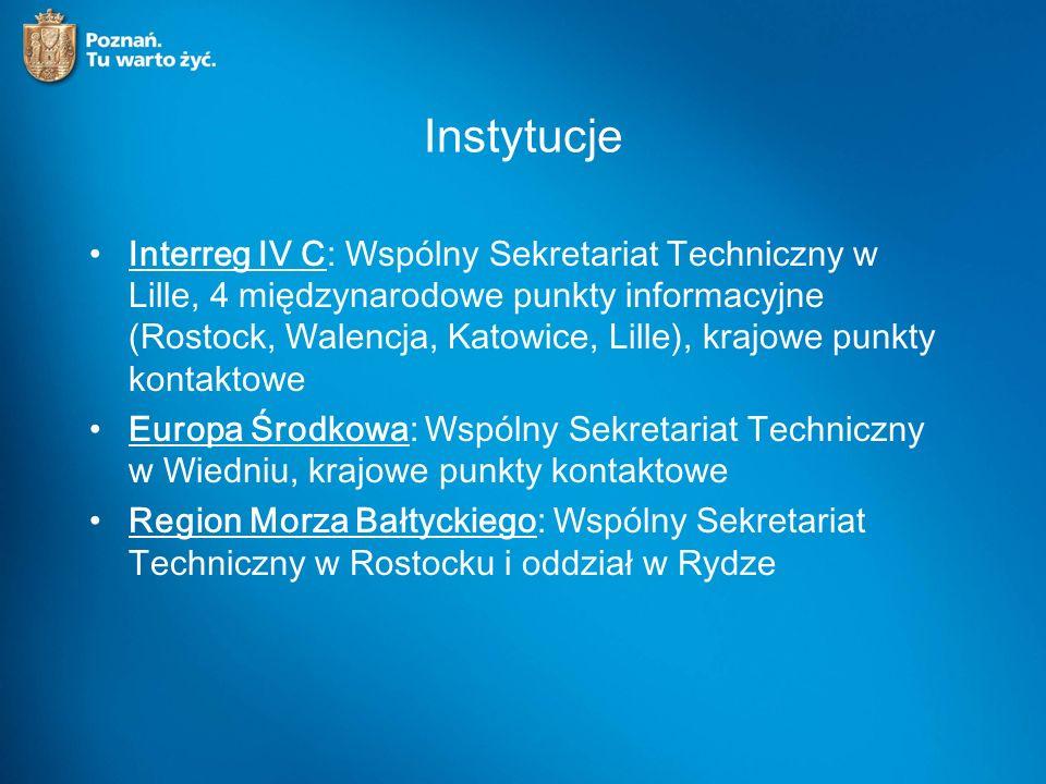 Instytucje Interreg IV C: Wspólny Sekretariat Techniczny w Lille, 4 międzynarodowe punkty informacyjne (Rostock, Walencja, Katowice, Lille), krajowe punkty kontaktowe Europa Środkowa: Wspólny Sekretariat Techniczny w Wiedniu, krajowe punkty kontaktowe Region Morza Bałtyckiego: Wspólny Sekretariat Techniczny w Rostocku i oddział w Rydze