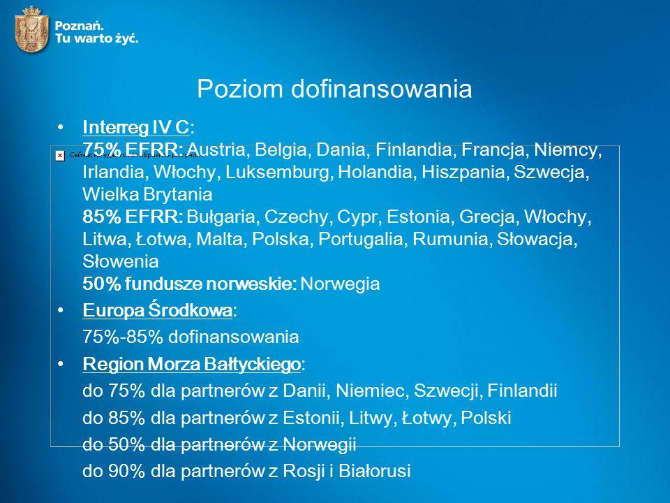 Poziom dofinansowania Interreg IV C: 75% EFRR: Austria, Belgia, Dania, Finlandia, Francja, Niemcy, Irlandia, Włochy, Luksemburg, Holandia, Hiszpania, Szwecja, Wielka Brytania 85% EFRR: Bułgaria, Czechy, Cypr, Estonia, Grecja, Włochy, Litwa, Łotwa, Malta, Polska, Portugalia, Rumunia, Słowacja, Słowenia 50% fundusze norweskie: Norwegia Europa Środkowa: 75%-85% dofinansowania Region Morza Bałtyckiego: do 75% dla partnerów z Danii, Niemiec, Szwecji, Finlandii do 85% dla partnerów z Estonii, Litwy, Łotwy, Polski do 50% dla partnerów z Norwegii do 90% dla partnerów z Rosji i Białorusi