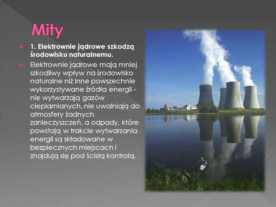  1. Elektrownie jądrowe szkodzą środowisku naturalnemu.