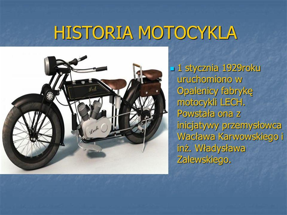 HISTORIA MOTOCYKLA HISTORIA MOTOCYKLA 1 stycznia 1929roku uruchomiono w Opalenicy fabrykę motocykli LECH.