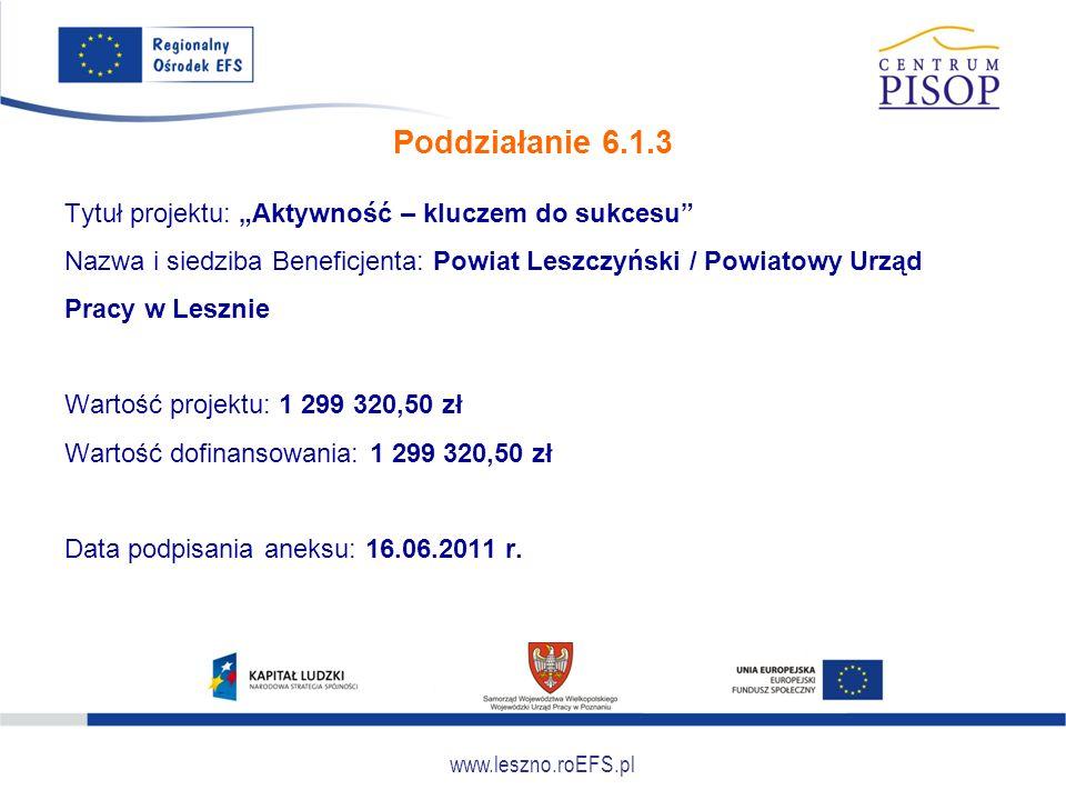 """www.leszno.roEFS.pl Poddziałanie 6.1.3 Tytuł projektu: """"Aktywność – kluczem do sukcesu"""" Nazwa i siedziba Beneficjenta: Powiat Leszczyński / Powiatowy"""