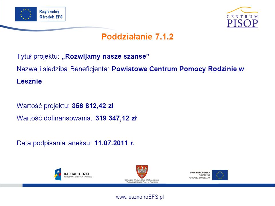 """www.leszno.roEFS.pl Poddziałanie 7.1.2 Tytuł projektu: """"Rozwijamy nasze szanse"""" Nazwa i siedziba Beneficjenta: Powiatowe Centrum Pomocy Rodzinie w Les"""