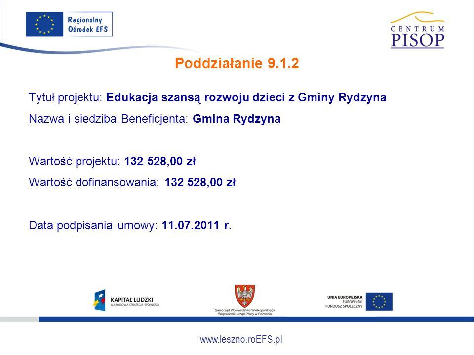www.leszno.roEFS.pl Poddziałanie 9.1.2 Tytuł projektu: Edukacja szansą rozwoju dzieci z Gminy Rydzyna Nazwa i siedziba Beneficjenta: Gmina Rydzyna War