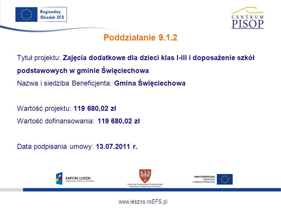 www.leszno.roEFS.pl Poddziałanie 9.1.2 Tytuł projektu: Zajęcia dodatkowe dla dzieci klas I-III i doposażenie szkół podstawowych w gminie Święciechowa