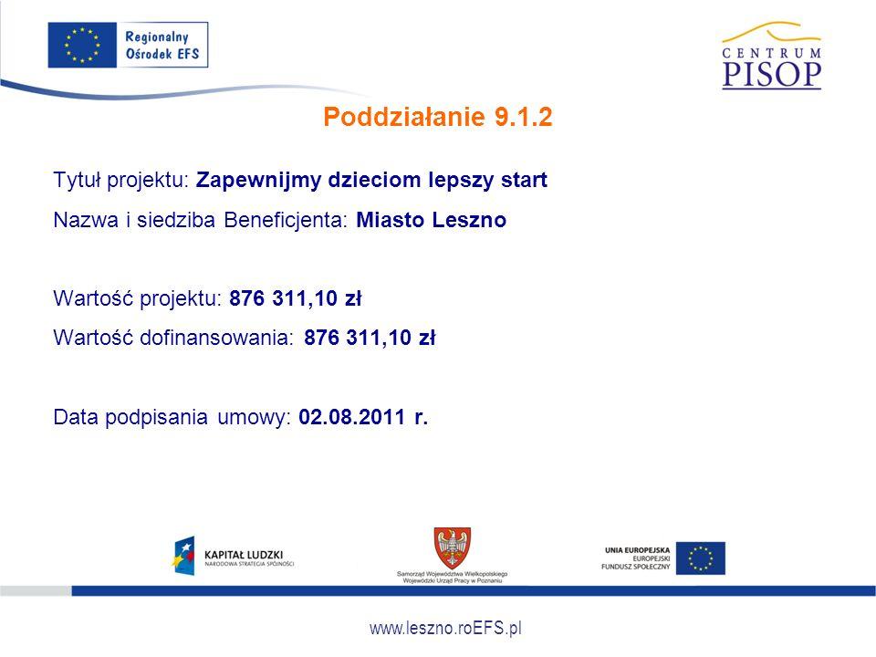 www.leszno.roEFS.pl Poddziałanie 9.1.2 Tytuł projektu: Zapewnijmy dzieciom lepszy start Nazwa i siedziba Beneficjenta: Miasto Leszno Wartość projektu: