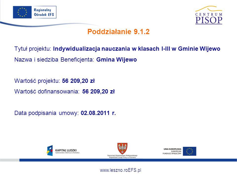 www.leszno.roEFS.pl Poddziałanie 9.1.2 Tytuł projektu: Indywidualizacja nauczania w klasach I-III w Gminie Wijewo Nazwa i siedziba Beneficjenta: Gmina