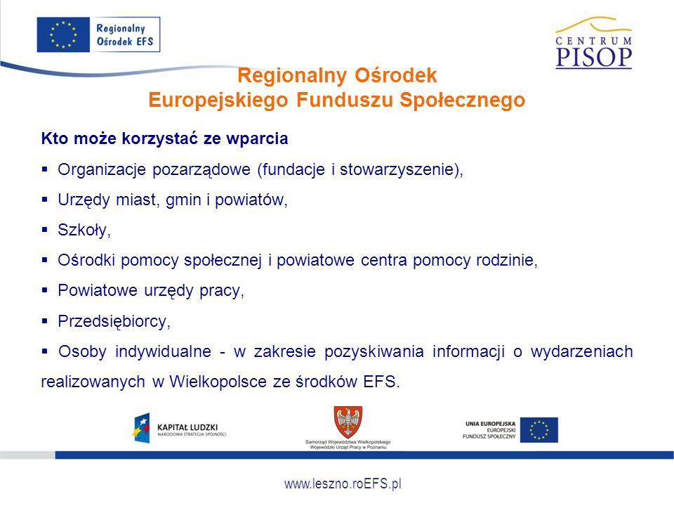 www.leszno.roEFS.pl Regionalny Ośrodek Europejskiego Funduszu Społecznego Kto może korzystać ze wparcia  Organizacje pozarządowe (fundacje i stowarzy