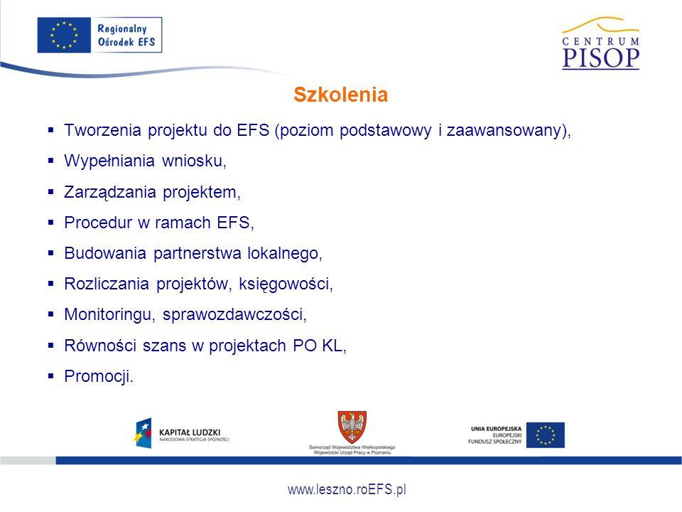 www.leszno.roEFS.pl Doradztwo  Tworzenia projektu,  Źródeł dofinansowania,  Skutecznego zarządzania projektem,  Wypełniania wniosku o płatność,  Analizy problemów społeczności lokalnej,  Przygotowania wniosku aplikacyjnego,  Aspekty związane z opracowywaniem i wdrażaniem projektów w ramach EFS,  Doradztwo specjalistyczne: prawne, księgowe, pedagogiczne.