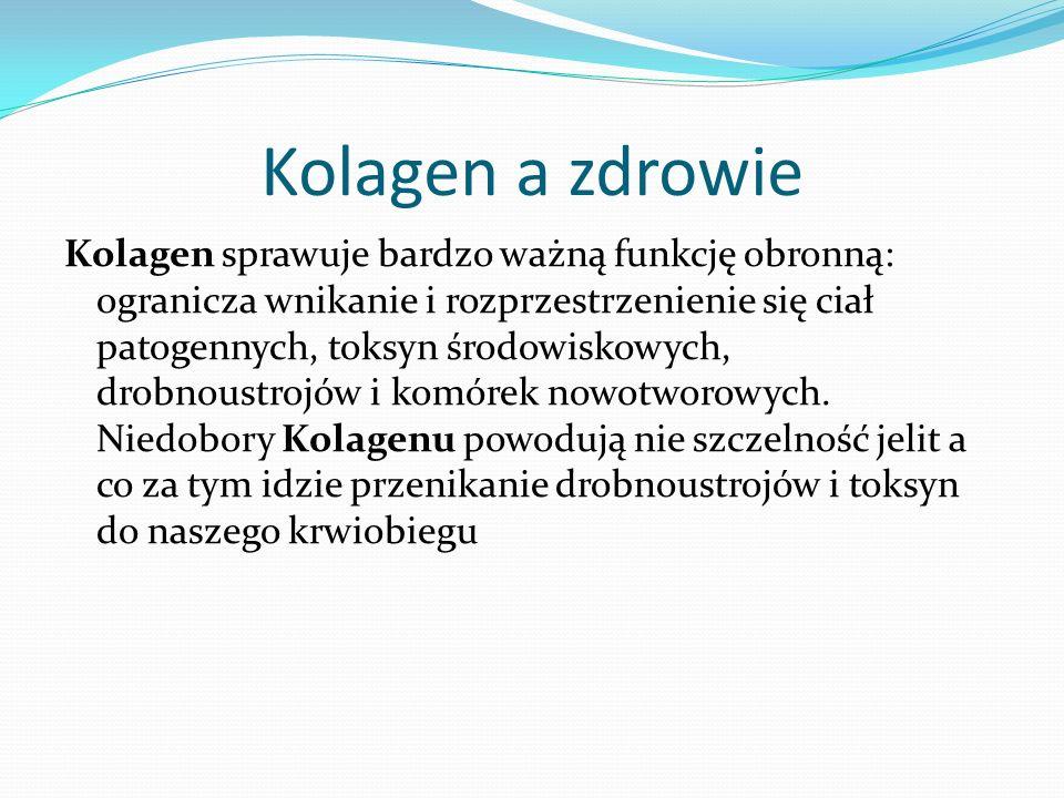 Kolagen a zdrowie Kolagen sprawuje bardzo ważną funkcję obronną: ogranicza wnikanie i rozprzestrzenienie się ciał patogennych, toksyn środowiskowych, drobnoustrojów i komórek nowotworowych.