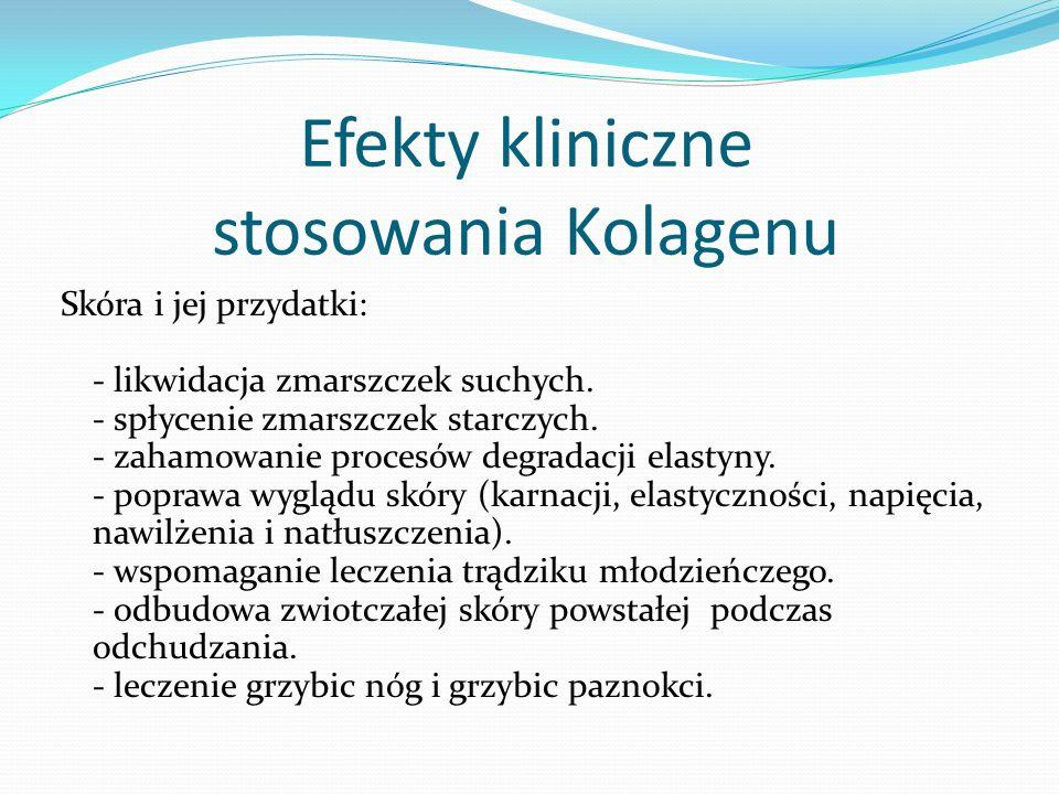 Efekty kliniczne stosowania Kolagenu Skóra i jej przydatki: - likwidacja zmarszczek suchych.
