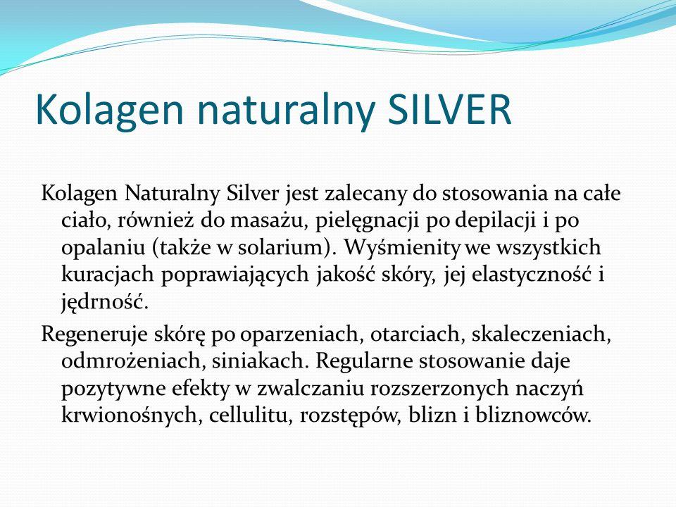 Kolagen Naturalny Silver jest zalecany do stosowania na całe ciało, również do masażu, pielęgnacji po depilacji i po opalaniu (także w solarium).