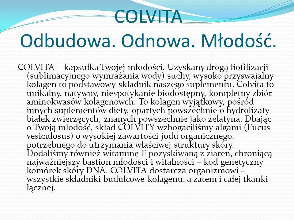COLVITA Odbudowa. Odnowa. Młodość. COLVITA – kapsułka Twojej młodości.