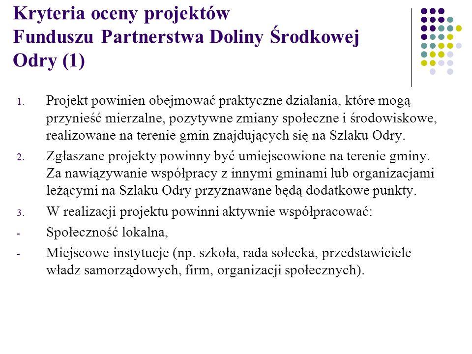 Kryteria oceny projektów Funduszu Partnerstwa Doliny Środkowej Odry (1) 1.