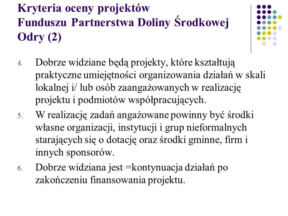 Kryteria oceny projektów Funduszu Partnerstwa Doliny Środkowej Odry (2) 4.
