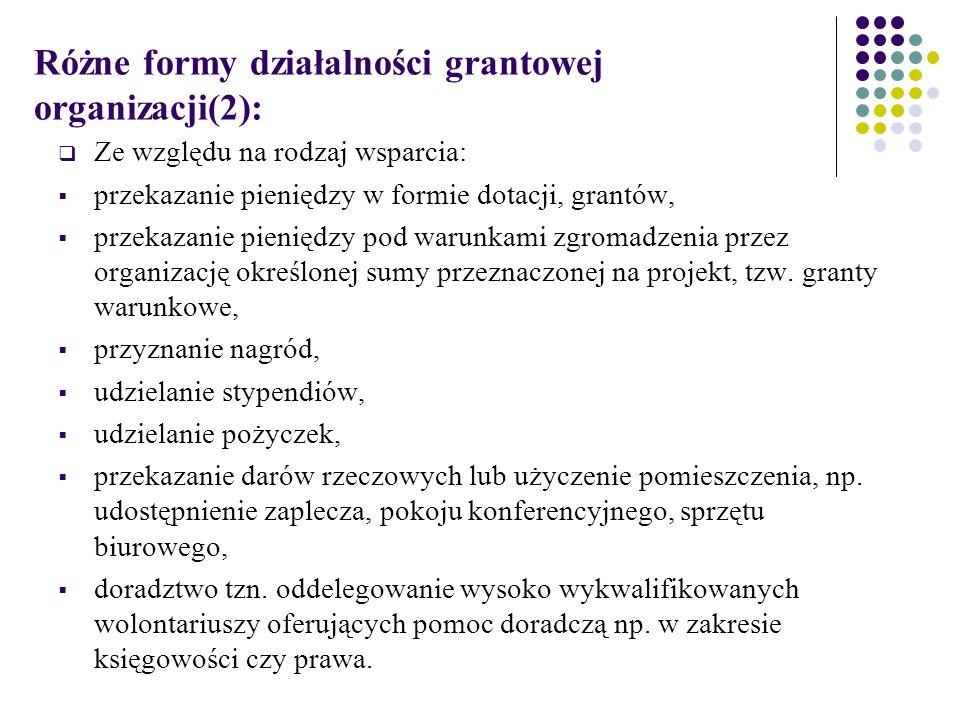 Różne formy działalności grantowej organizacji(2):  Ze względu na rodzaj wsparcia:  przekazanie pieniędzy w formie dotacji, grantów,  przekazanie pieniędzy pod warunkami zgromadzenia przez organizację określonej sumy przeznaczonej na projekt, tzw.
