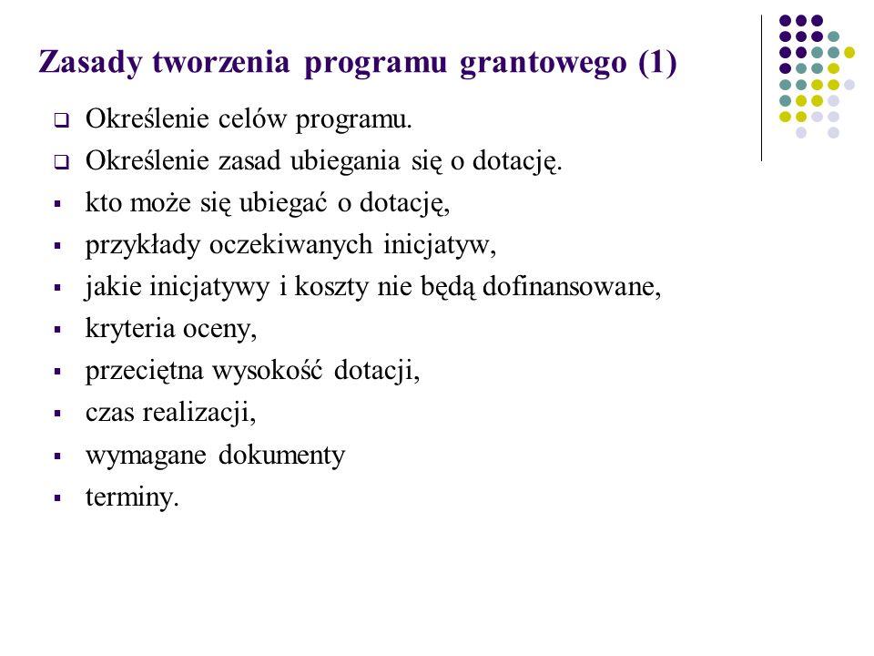 Zasady tworzenia programu grantowego (1)  Określenie celów programu.