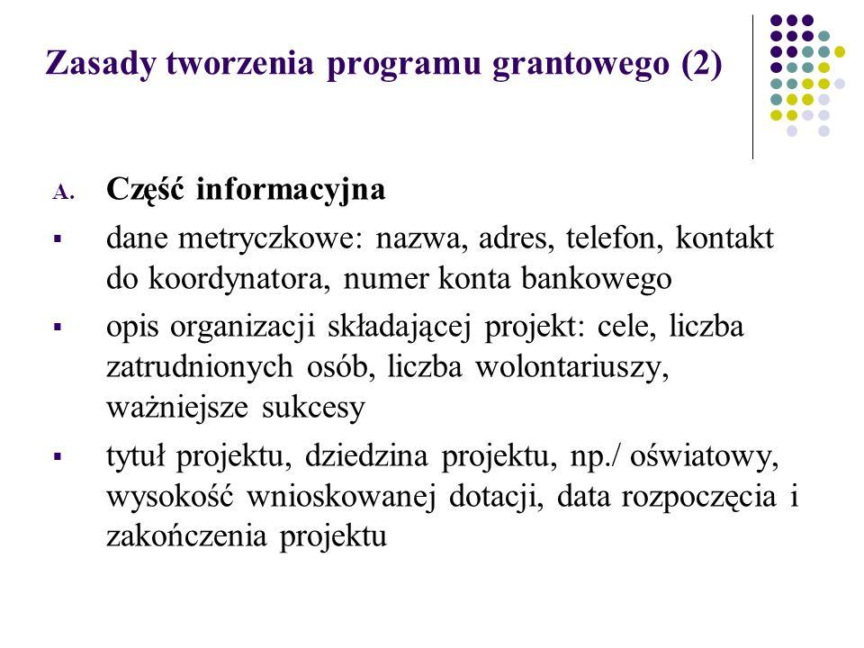 Zasady tworzenia programu grantowego (2) A.