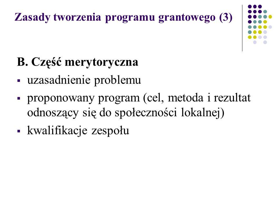 Zasady tworzenia programu grantowego (3) B.