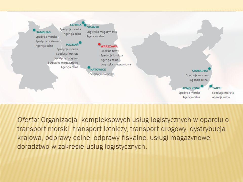Oferta: Organizacja kompleksowych usług logistycznych w oparciu o transport morski, transport lotniczy, transport drogowy, dystrybucja krajowa, odprawy celne, odprawy fiskalne, usługi magazynowe, doradztwo w zakresie usług logistycznych.