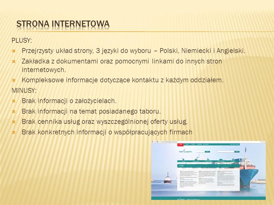 PLUSY:  Przejrzysty układ strony, 3 języki do wyboru – Polski, Niemiecki i Angielski.