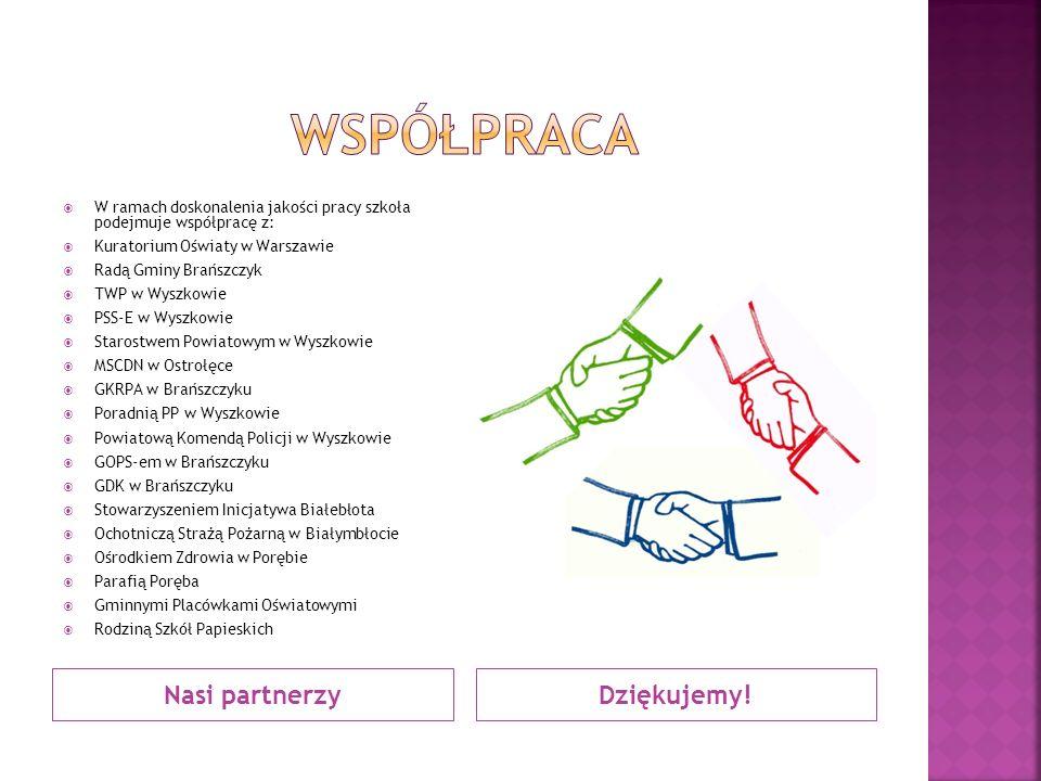 Nasi partnerzyDziękujemy!  W ramach doskonalenia jakości pracy szkoła podejmuje współpracę z:  Kuratorium Oświaty w Warszawie  Radą Gminy Brańszczy