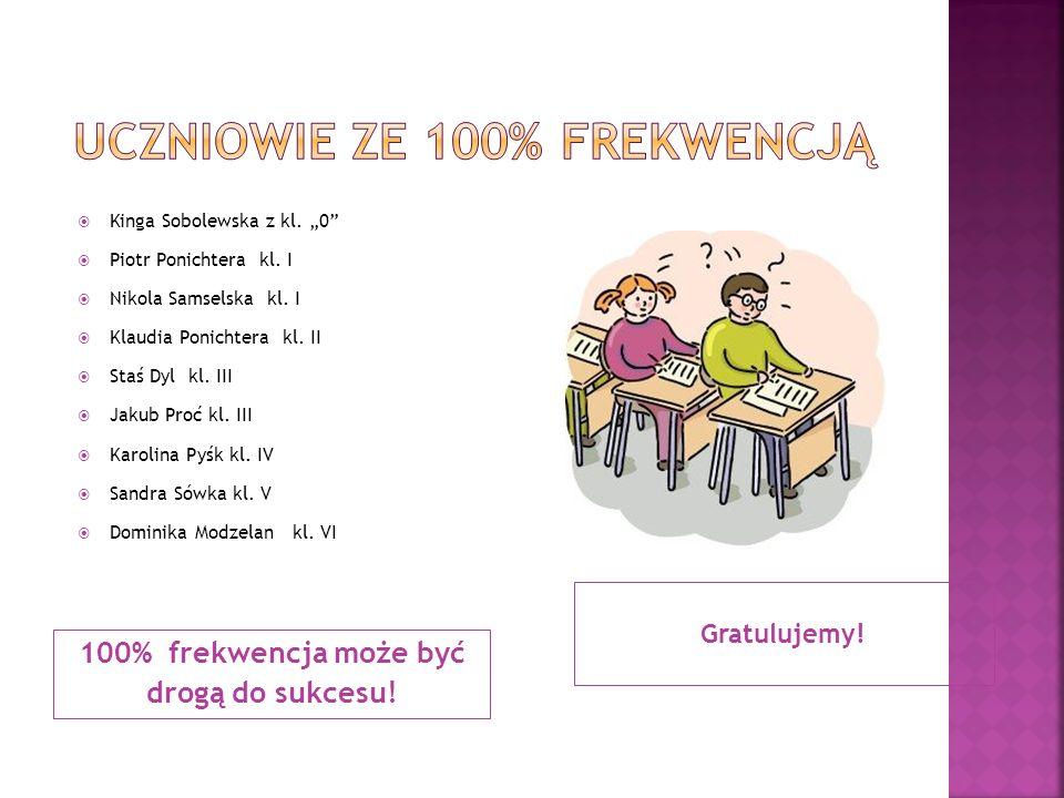 """100% frekwencja może być drogą do sukcesu! Gratulujemy!  Kinga Sobolewska z kl. """"0""""  Piotr Ponichtera kl. I  Nikola Samselska kl. I  Klaudia Ponic"""
