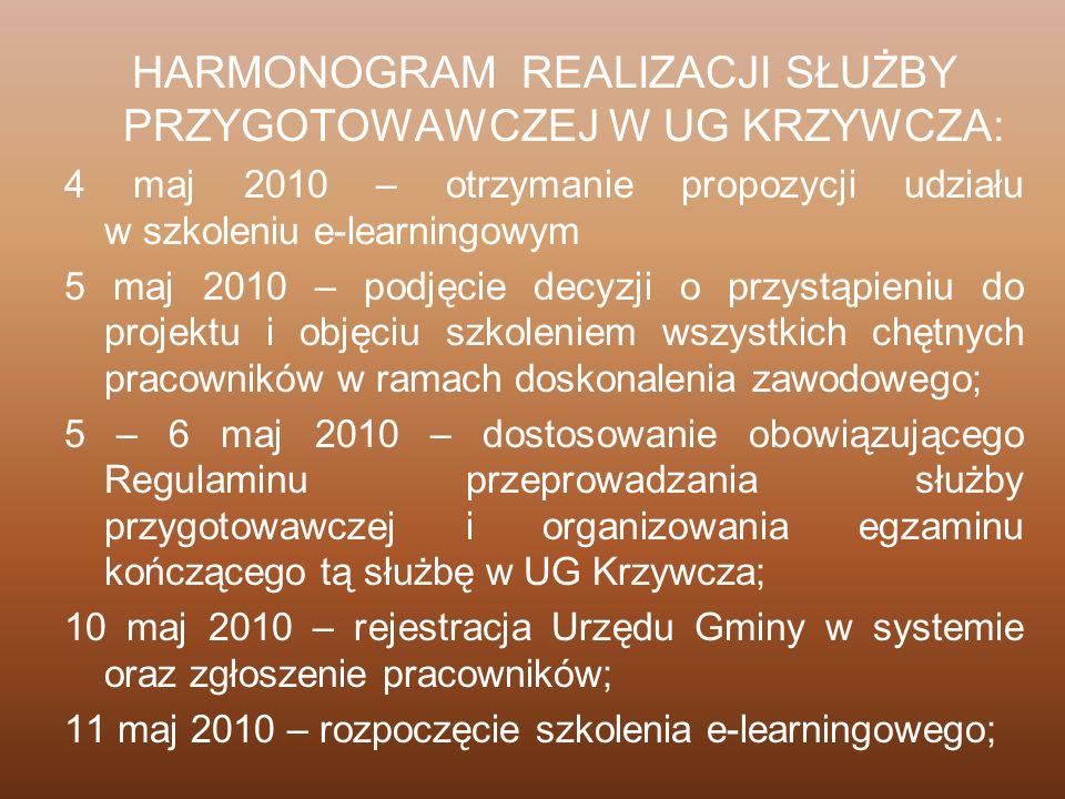 HARMONOGRAM REALIZACJI SŁUŻBY PRZYGOTOWAWCZEJ W UG KRZYWCZA: 4 maj 2010 – otrzymanie propozycji udziału w szkoleniu e-learningowym 5 maj 2010 – podjęc