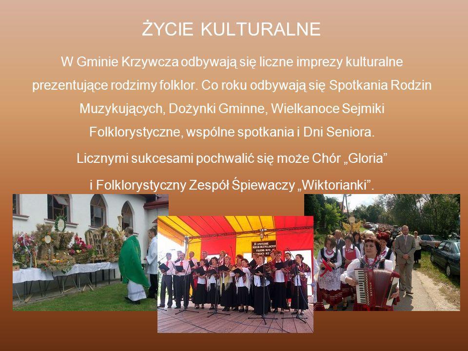 ŻYCIE KULTURALNE W Gminie Krzywcza odbywają się liczne imprezy kulturalne prezentujące rodzimy folklor. Co roku odbywają się Spotkania Rodzin Muzykują