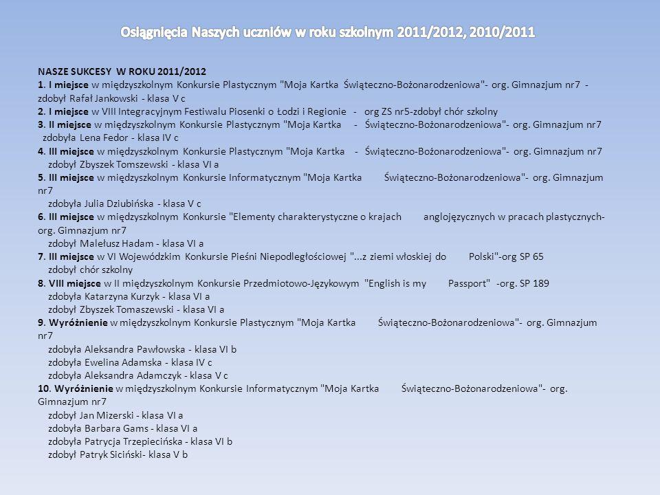 NASZE SUKCESY W ROKU 2011/2012 1.
