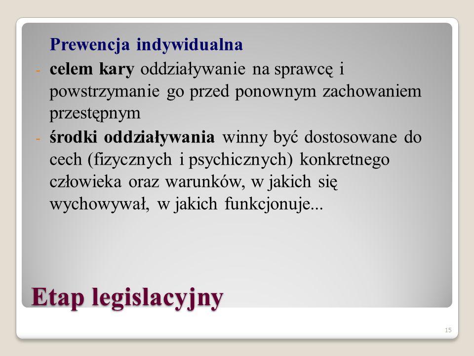 """14 Etap legislacyjny Prewencja generalna (zapobieżenie ogólne): - pozytywny wymiar prewencji generalnej (internalizacyjno-eksternalizacyjny: wpojenie, że nie wolno łamać prawa; że to prawo jest czymś ważnym, a zakazane zachowanie jest niedopuszczalne) - negatywny wymiar prewencji generalnej (represyjny - zagrożenie sankcją, zastosowanie jej, ma odstraszać od popełnienia przestępstwa: aspekt emocjonalny - strach, aspekt """"ekonomiczny - kalkulacja opłacalności; przepadek mienia)"""