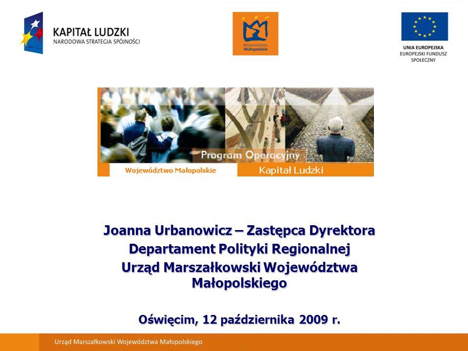 Joanna Urbanowicz – Zastępca Dyrektora Departament Polityki Regionalnej Urząd Marszałkowski Województwa Małopolskiego Oświęcim, 12 października 2009 r.