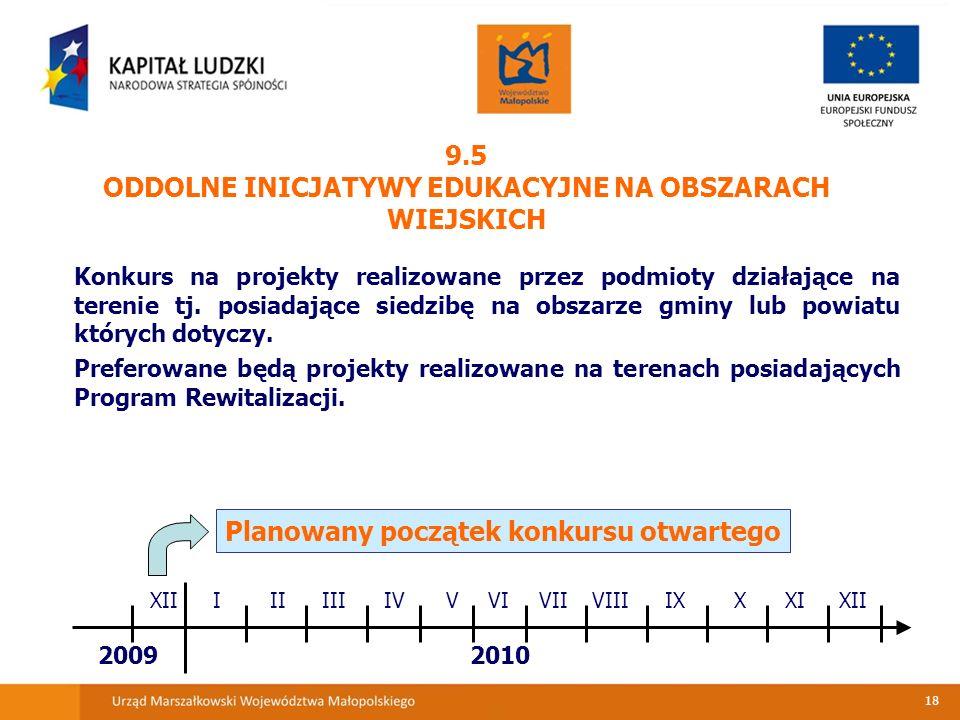 18 9.5 ODDOLNE INICJATYWY EDUKACYJNE NA OBSZARACH WIEJSKICH Konkurs na projekty realizowane przez podmioty działające na terenie tj.