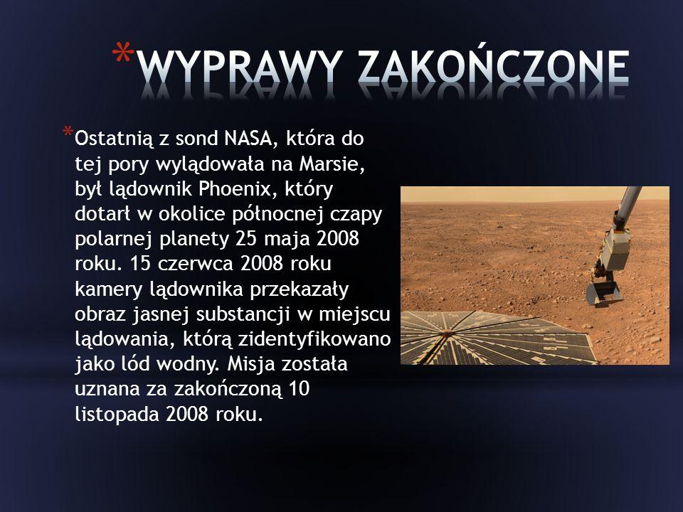 * Ostatnią z sond NASA, która do tej pory wylądowała na Marsie, był lądownik Phoenix, który dotarł w okolice północnej czapy polarnej planety 25 maja 2008 roku.