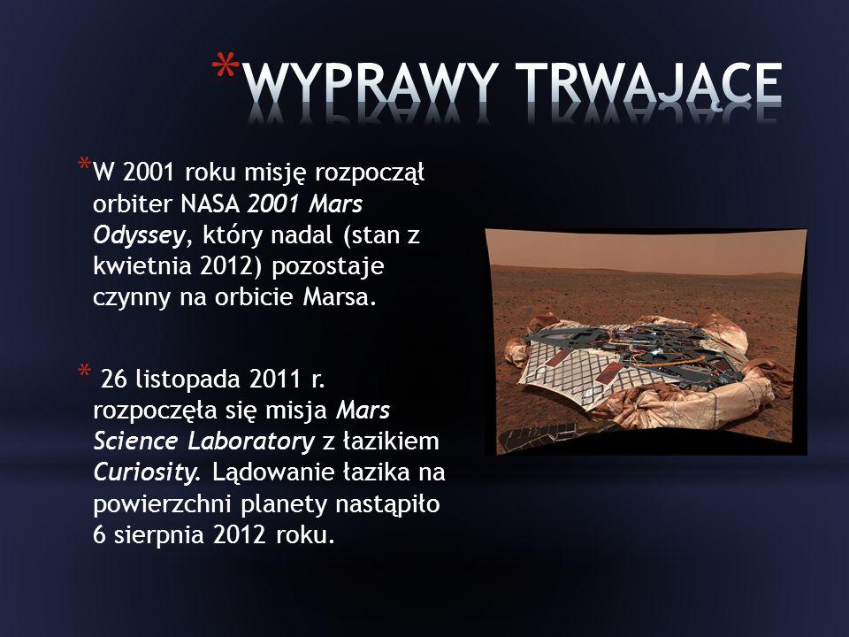 * W 2001 roku misję rozpoczął orbiter NASA 2001 Mars Odyssey, który nadal (stan z kwietnia 2012) pozostaje czynny na orbicie Marsa.