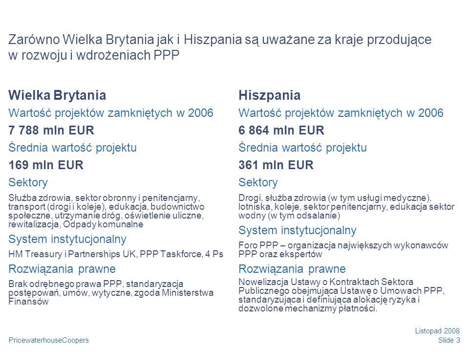 PricewaterhouseCoopers Listopad 2008 Slide 3 Zarówno Wielka Brytania jak i Hiszpania są uważane za kraje przodujące w rozwoju i wdrożeniach PPP Wielka Brytania Wartość projektów zamkniętych w 2006 7 788 mln EUR Średnia wartość projektu 169 mln EUR Sektory Służba zdrowia, sektor obronny i penitencjarny, transport (drogi i koleje), edukacja, budownictwo społeczne, utrzymanie dróg, oświetlenie uliczne, rewitalizacja, Odpady komunalne System instytucjonalny HM Treasury i Partnerships UK, PPP Taskforce, 4 Ps Rozwiązania prawne Brak odrębnego prawa PPP, standaryzacja postępowań, umów, wytyczne, zgoda Ministerstwa Finansów Hiszpania Wartość projektów zamkniętych w 2006 6 864 mln EUR Średnia wartość projektu 361 mln EUR Sektory Drogi, służba zdrowia (w tym usługi medyczne), lotniska, koleje, sektor penitencjarny, edukacja sektor wodny (w tym odsalanie) System instytucjonalny Foro PPP – organizacja największych wykonawców PPP oraz ekspertów Rozwiązania prawne Nowelizacja Ustawy o Kontraktach Sektora Publicznego obejmująca Ustawę o Umowach PPP, standaryzująca i definiująca alokację ryzyka i dozwolone mechanizmy płatności.