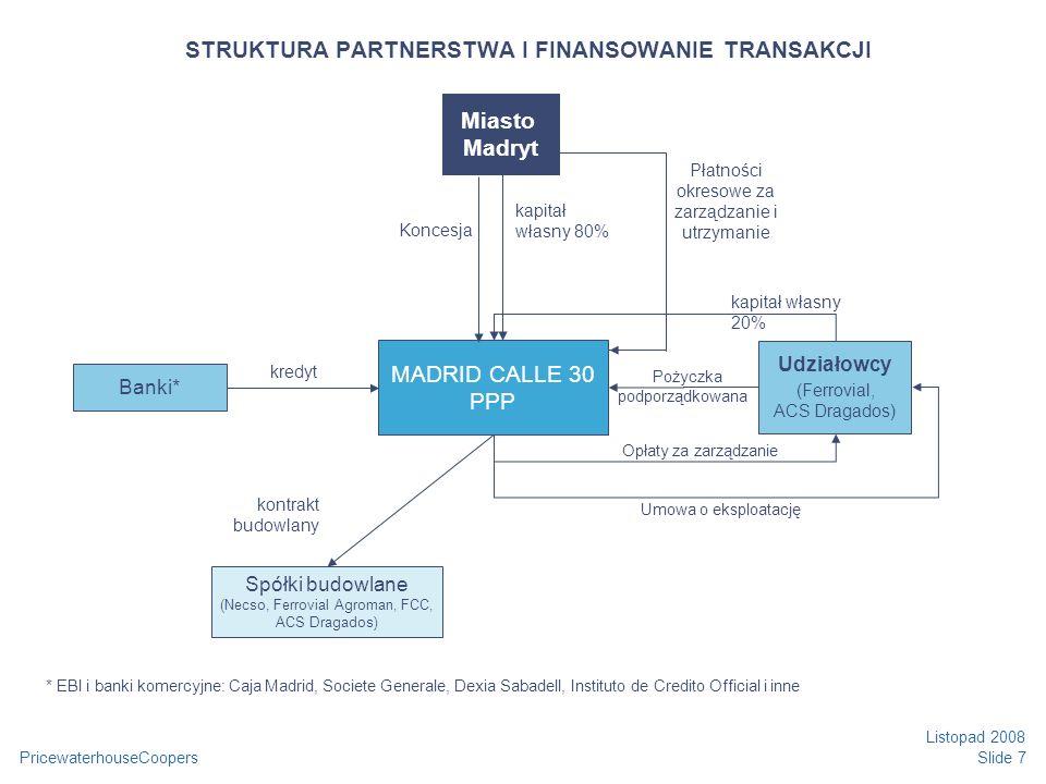 PricewaterhouseCoopers Listopad 2008 Slide 7 STRUKTURA PARTNERSTWA I FINANSOWANIE TRANSAKCJI * EBI i banki komercyjne: Caja Madrid, Societe Generale, Dexia Sabadell, Instituto de Credito Official i inne Spółki budowlane (Necso, Ferrovial Agroman, FCC, ACS Dragados) kapitał własny 20% Pożyczka podporządkowana kontrakt budowlany Płatności okresowe za zarządzanie i utrzymanie Opłaty za zarządzanie Miasto Madryt MADRID CALLE 30 PPP Udziałowcy (Ferrovial, ACS Dragados) Banki* kredyt Koncesja kapitał własny 80% Umowa o eksploatację