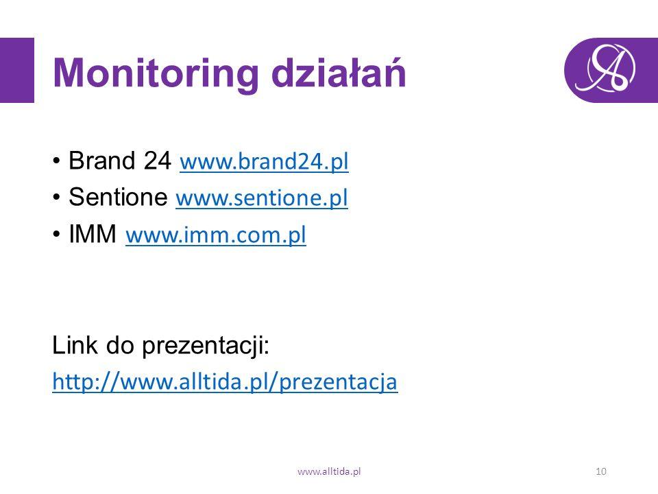 Monitoring działań Brand 24 www.brand24.pl www.brand24.pl Sentione www.sentione.plwww.sentione.pl IMM www.imm.com.pl www.imm.com.pl Link do prezentacji: http://www.alltida.pl/prezentacja www.alltida.pl10