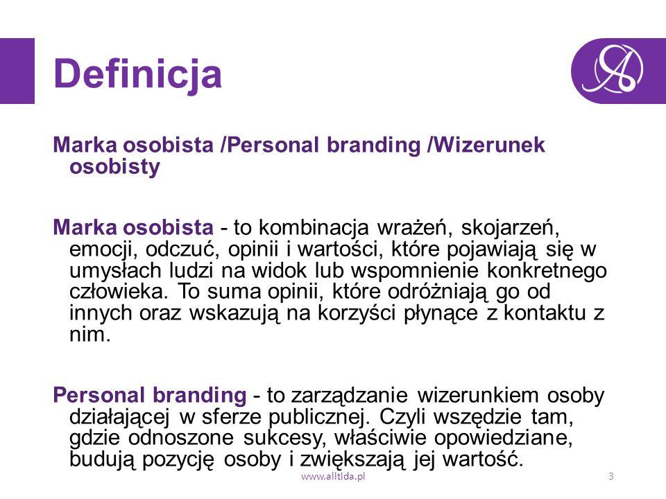 Definicja Marka osobista /Personal branding /Wizerunek osobisty Marka osobista - to kombinacja wrażeń, skojarzeń, emocji, odczuć, opinii i wartości, które pojawiają się w umysłach ludzi na widok lub wspomnienie konkretnego człowieka.